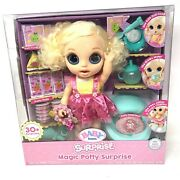 Baby Born Magic Potty Surprise Doll Blonde Blue Eye Drinks Eats Poops Charms New