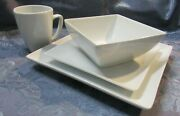 Set For 4 Crate And Barrel Classic White Service Set 16 Pc. Lot G4
