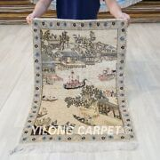 2and039x3and039 400 Lines Handmade Silk Carpet Antique Tapestry Exquisite Rug P049h