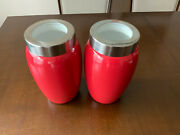 2 Authentic Kitchen Red Glazed Ceramic Canister Airtight Glass Lid 8 Tall