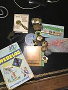 Vintage Boy Scout Pins And Badges Lot Of Miscellaneous Items. Book Pins,postcard