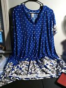 Women's Plus Size 3x Serengeti Polka Dots And Floral Border Tunic Blue Top New