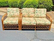 Vintage Pacific Rattan Loveseat And Lounge Chair Mcm Bentwood Bamboo Tiki Set 2