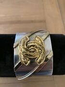 1970andrsquos Rare Classic Vintage Sterling With Gold Quilt Cc Logo