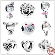 Genuine 925 Sterling Silver Boy Girl Family Coffee Charms Without Pandora Pouch