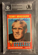 1971 Terry Bradshaw Rookie Signed. Steelers Auto. Bgs Autograph Card Ex