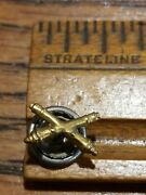 3/4 Us Army Field Artillery Screwback Pin Emblem Insignia Crossed Cannons Vtg
