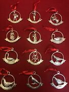 Retired Godinger Sterling Silver Plated Twelve 12 Days Of Christmas Ornaments