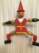 Vintage Wooden Pull Puppet Pinochhio Type Boy. Pre-owned