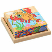 Wooden 3d Puzzle Multicolor Sea Animals Educational Toy Cube For Children Kids