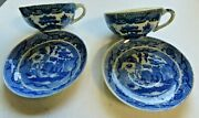 Vintage Childand039s Toy Dishes Blue Willow Cups And Saucers Japan