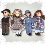 Boy And Girl Porcelain Dolls Lot. Two Sets Of Siblings With Matching Outfits.