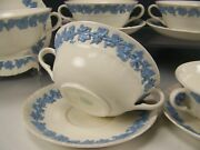 6 Wedgwood Queensware Lavender On Cream Shell Edge Cream Soups With Saucers