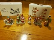 Lot Of 7 Lefton China Christmas Colonial Village Horses Coach Bicycle 1987 Mint