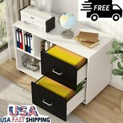 Office Lateral File Cabinets W/ Legal Size 2 Drawers Mobile Filing Cabinet