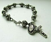 Vintage Childs Young Girl's Religious Bracelet Rose Buds Crucifix Medal
