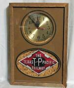 Texas And Pacific Railway Clock For Wall Works Wood Frame 13x 9x3.5 Tandp Railroad