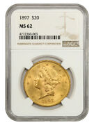 1897 20 Ngc Ms62 - Liberty Double Eagle - Gold Coin