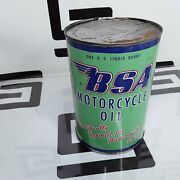 Vintage Full Original Bsa Motorcycle Motor Engine Oil One Quart Sae 20 Can Cycle