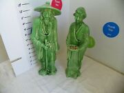 Faux Green Jade Ceramic Chinese Old Man And Woman Sculpture Figurines 13-14 Tall