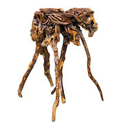 Antique Chinese Lacquered Azalea Tree Root Burl Pedestal Table Plant Stand