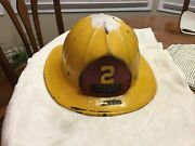 Vintage Plastic Yellow Fire Helmet With Leather Emblem Merrillville, Indiana