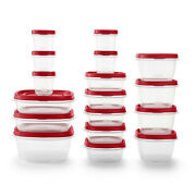 Rubbermaid, Easy Find Lid Food Storage Containers With Vented Lids, Red, 34-piec