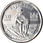 [788253] Coin Fiji 50 Cents 2017 Rugby Andagrave 7 Ms63 Nickel Plated Steel