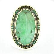 Antique 14k Gold Gia Pierced And Carved Jade W/ Green And Black Enamel Cocktail Ring