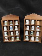 Thimble Display Cases With 24 Thimbles X 2 Unique Lovely Collectibles