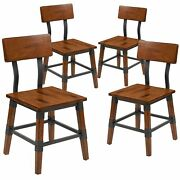 Flash Furniture Industrial Wood Dining Chair Rustic Antique Walnut 4-pieces