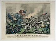 [currier And Ives] Hand-colored Lithograph  The Battle Of The Sharpsburg C.1862