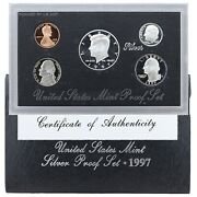 1997 S Proof Set Original Box And Coa 5 Coins 90 Silver Kennedy Us Mint