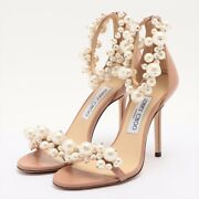Jimmy Choo Leather Sandals 37 Ladies Pink Maisel100 With Pearl