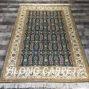4and039x6and039 Handmade Silk Carpet All-over Blue Home Durable All-over Area Rug Y434b