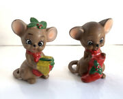 2 Vintage Kitsch Josef Originals Christmas Mice Mouse Figurines Cheese Stocking