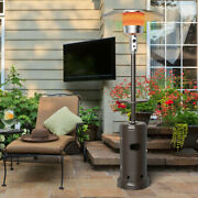 Gymax Outdoor Patio Heater Propane Standing Lp Gas Steel W/table And Wheels Bronze
