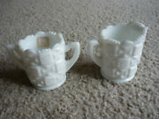 Vintage Westmoreland Glass Co. Milk Glass Creamer And Open Sugar Bowl