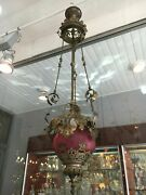 1 Antique Red Chandelier With Baccarat Crystal
