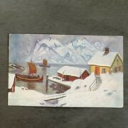 Snow Christmas Ships Lake Cabin Painted Vtg Postcard Norway Norge 30 Stamp