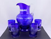Vintage Bohemian Cobalt Blue Cut To Clear Crystal Pitcher And 4 Tumblers - Rare