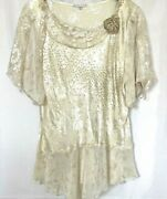 Vintage Spencer Alexis Sz 1 Top Tunic Sheer Lace Crochet 3/4 Sleeves Embellished