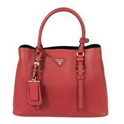 Prada Double Tote Small Leather Bag 1bg883 F068z In Red Fuoco