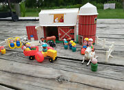 Vintage 1967 Fisher Price Little People Family Farm Barn Silo Animals Play Set