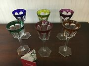 6 Colored Harcourt Glasses In Baccarat Crystal Price Per Piece