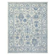 9and0395x11and0395 Extra Soft Wool Hand Knotted Ivory Angora Oushak Rug G68828