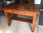 Mission Tiger Oak Art Deco Arts And Craft Library Table/desk-nice Antique Piece