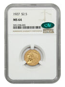 1927 2 1/2 Ngc/cac Ms64 - 2.50 Indian Gold Coin