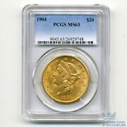 1904 20 Gold Pcgs Ms63 Liberty Head Double Eagle 20 Dollar Bright Luster
