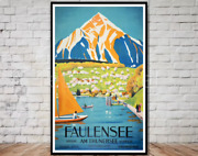 Faulensee Switzerland Travel Coffee Home Bedroom Deco Hanging Vintage Poster